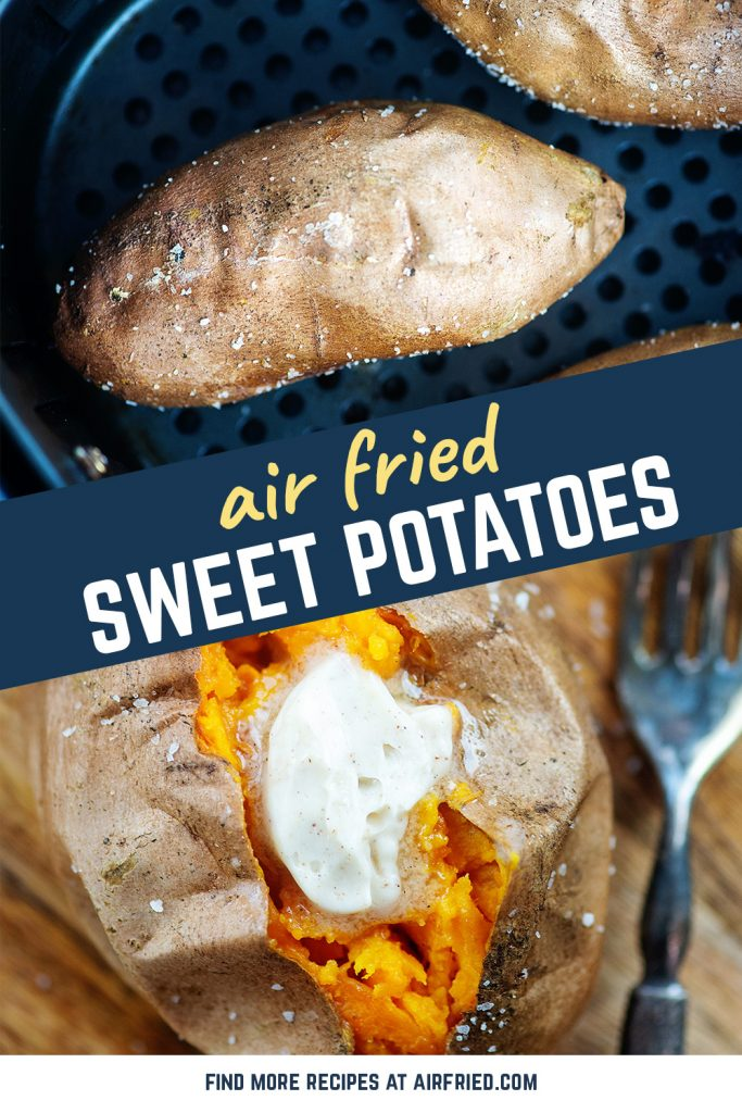 Whole sweet potatoes with salt on them in an air fryer basket.