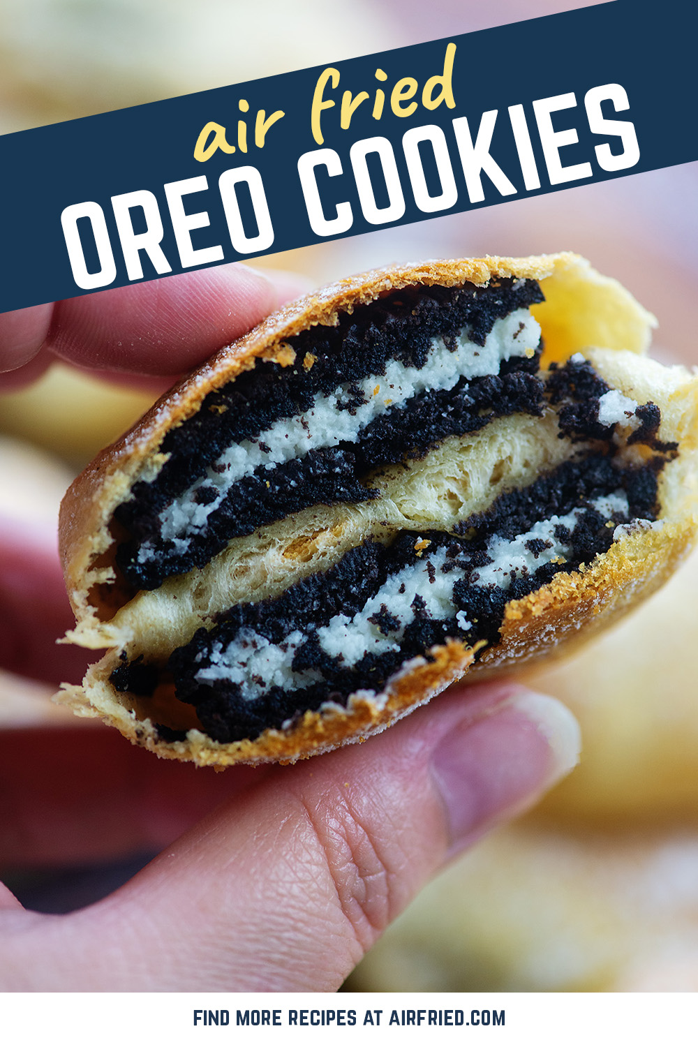 I love this sweet fried oreo with the soft center! #airfryer #recipe #cookies