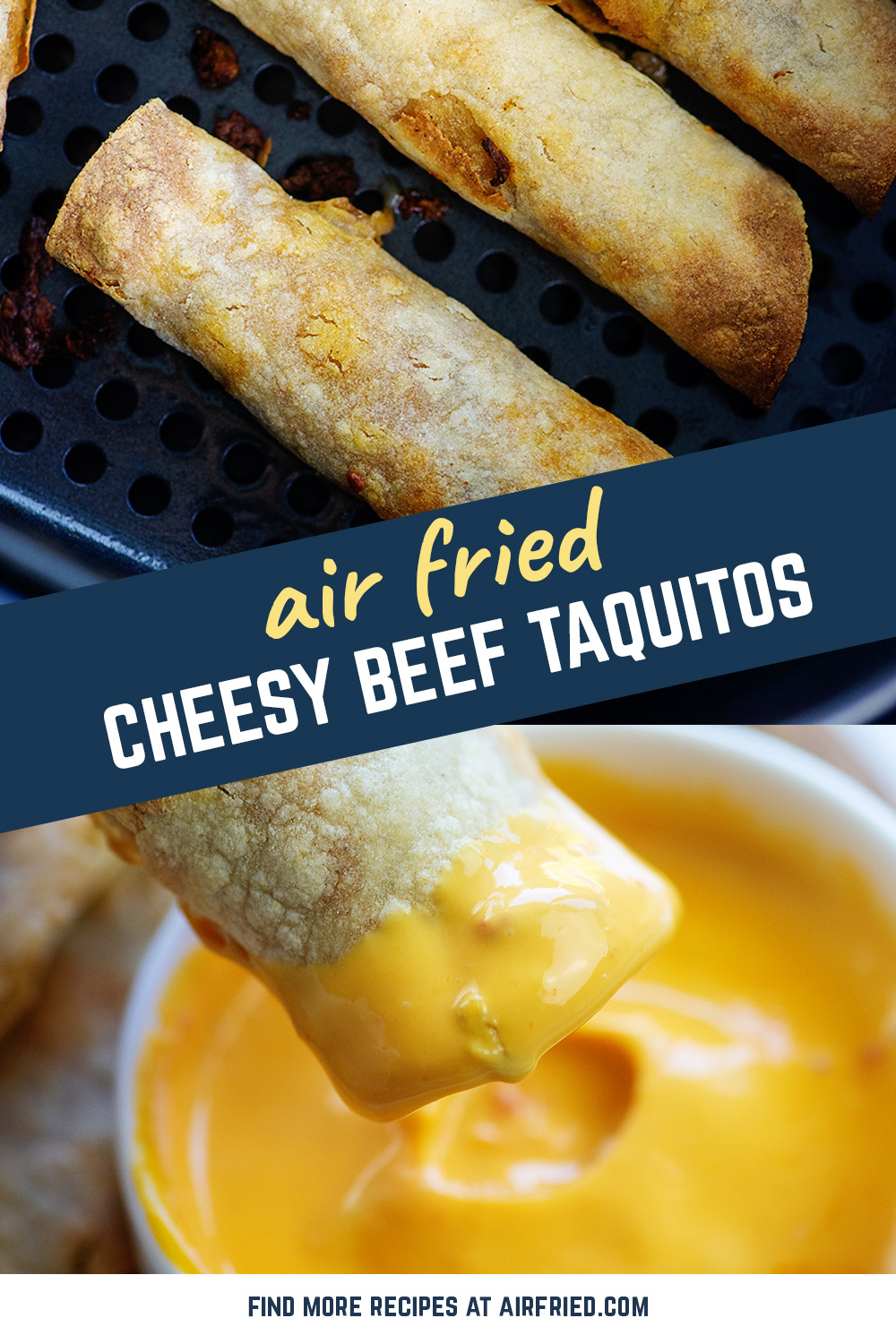 These air fryer taquitos are crispy on the outside and full of taco goodness on the inside!  #taquitos #recipe #airfryer