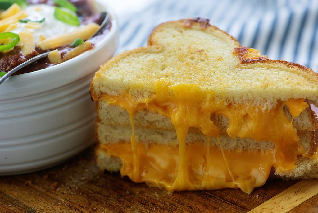 extra cheesy grilled cheese sandwich