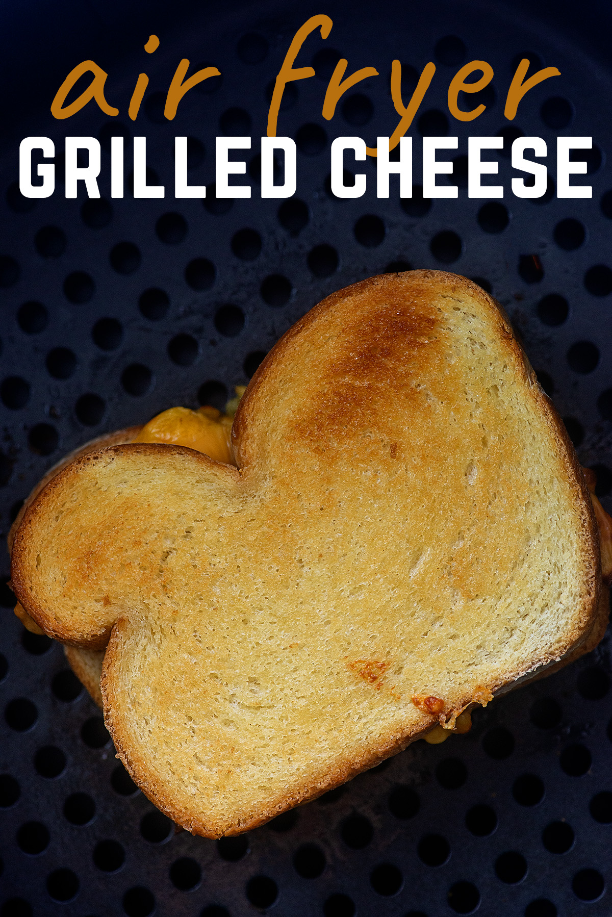 The air fryer makes the perfect crispy grilled cheese sandwich! So easy! #airfryer #sandwich #recipe