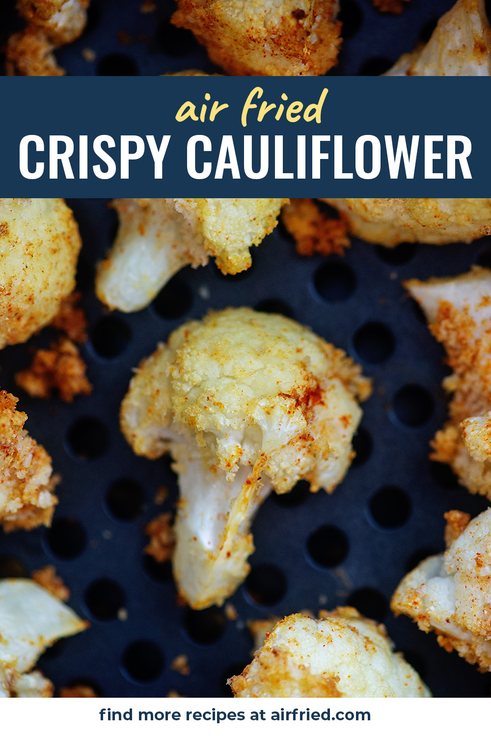 These breaded cauliflowers have a lightly crispy outside and wonderful garlic flavor! #recipes #airfried #cauliflower