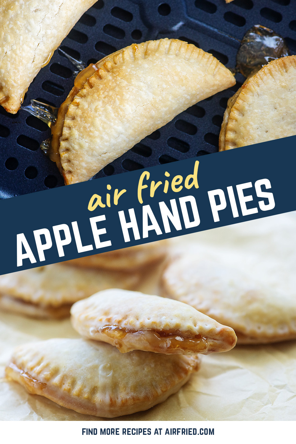 These personal-sized fried apple pies are covered in a vanilla glaze! #airfryer #applepie #recipes