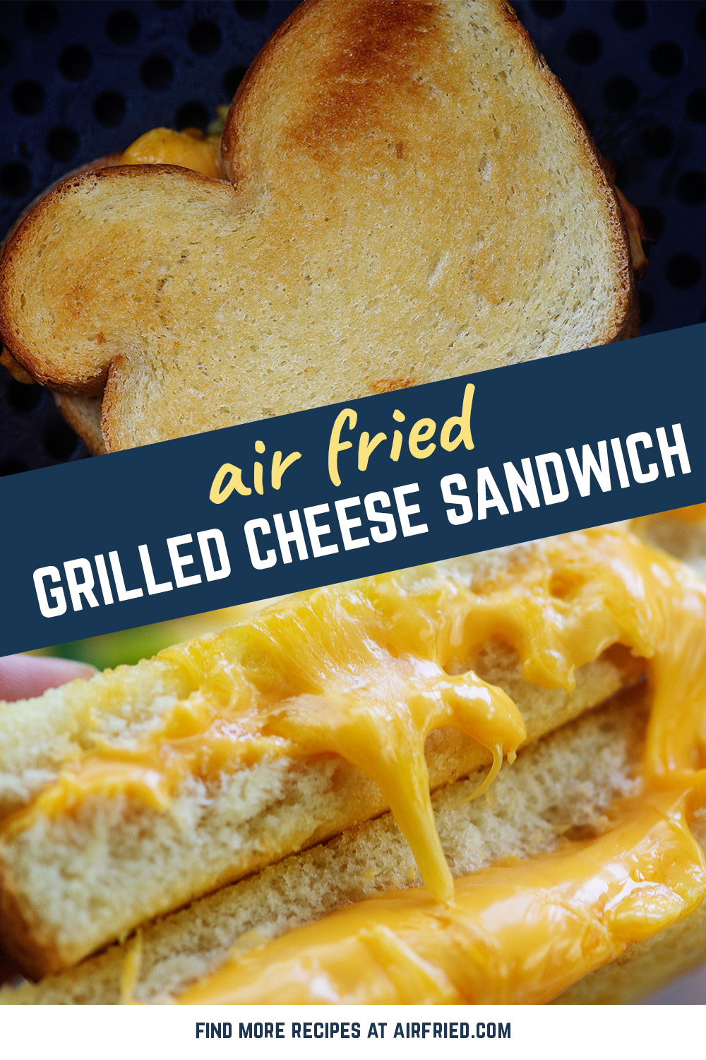 The air fryer makes the perfect grilled cheese sandwich! We like ours extra cheesy! #recipe #airfryer