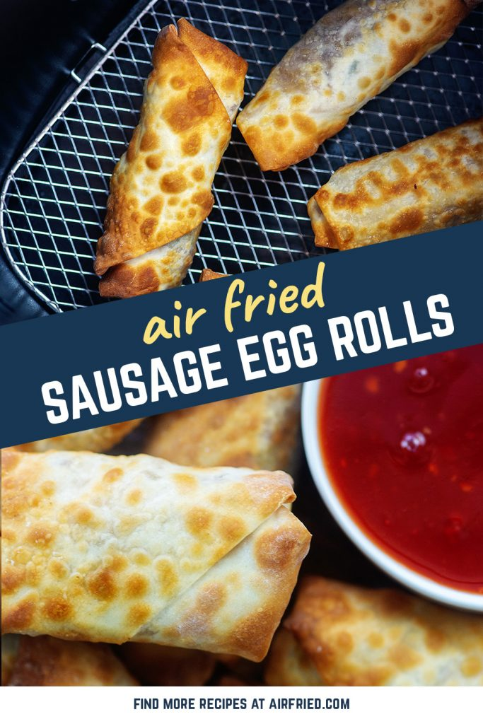 Overhead view of egg rolls in an air fryer basket