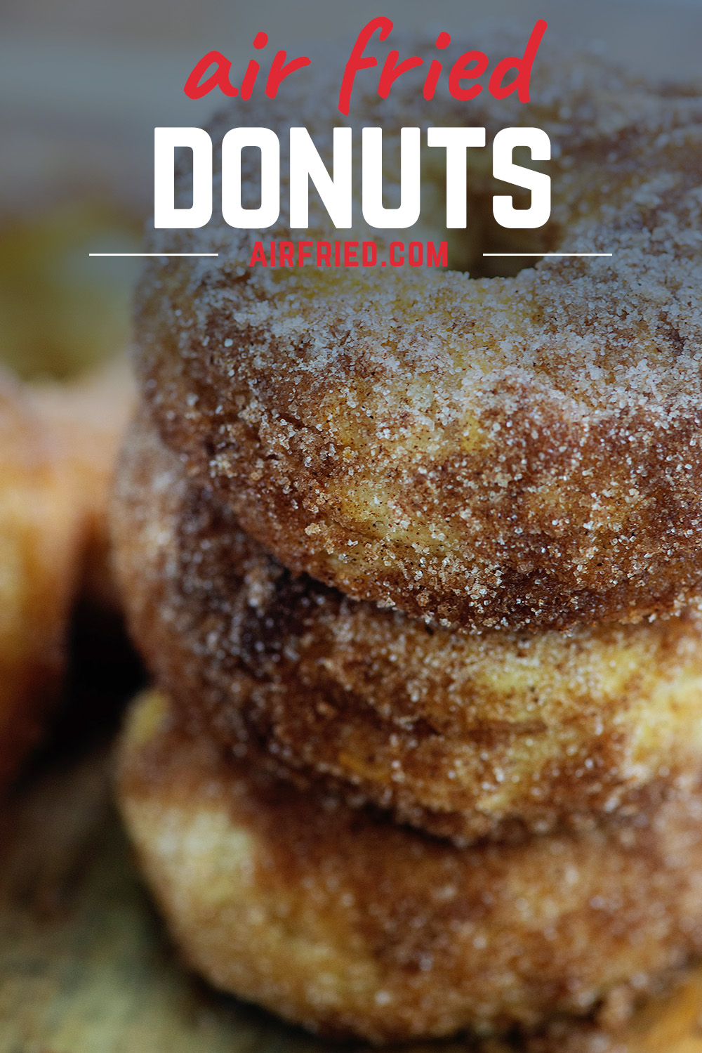 Homemade donuts in the air fryer are really easy to make and stay nice and soft on the inside!  #airfryer #donuts #recipe