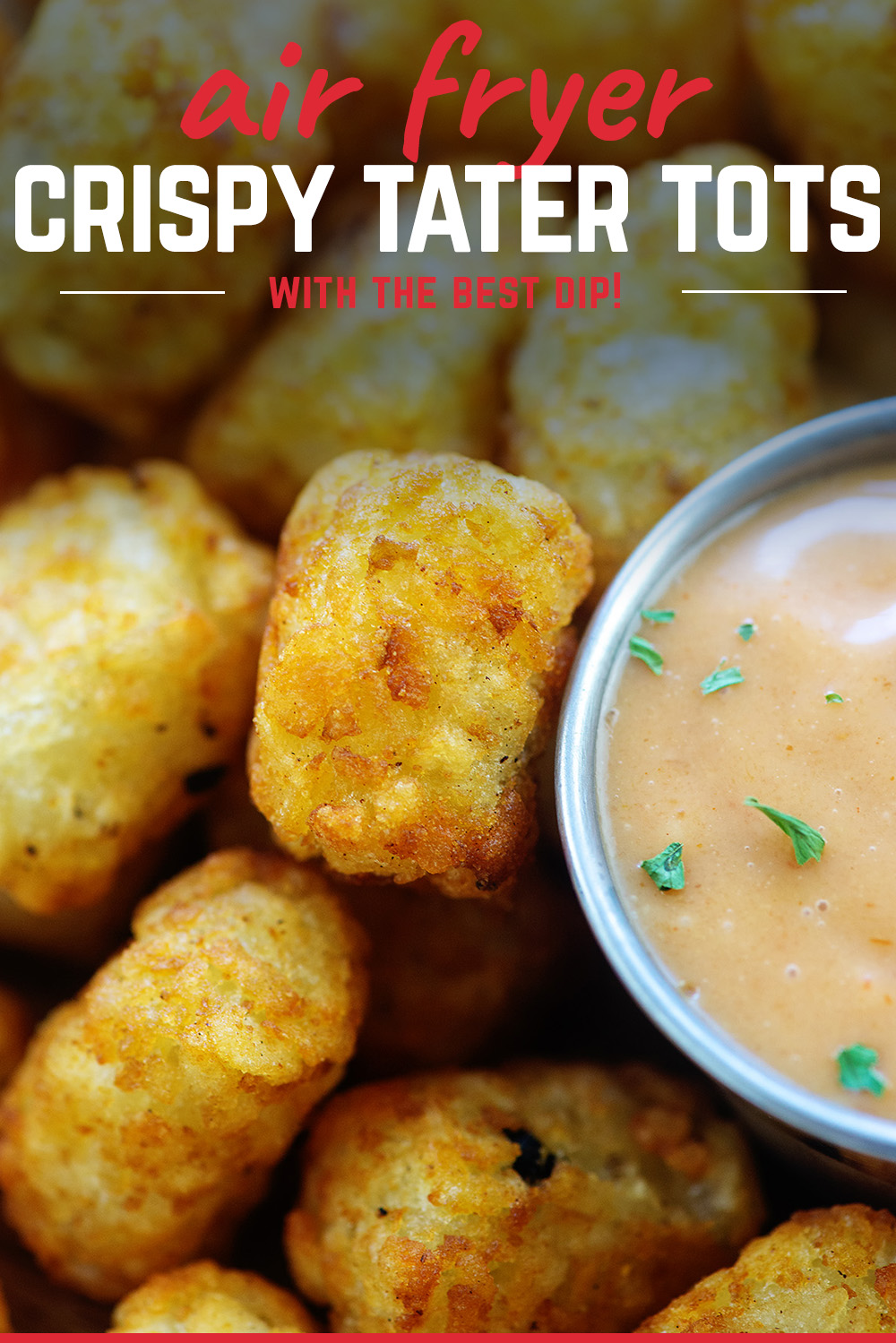 Frozen tater tots in the air fryer are perfectly crunchy and easy to make. #airfried #potato #recipe