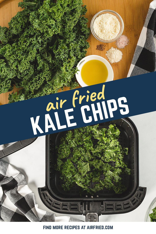 Overhead view of kale in an air fryer basket.