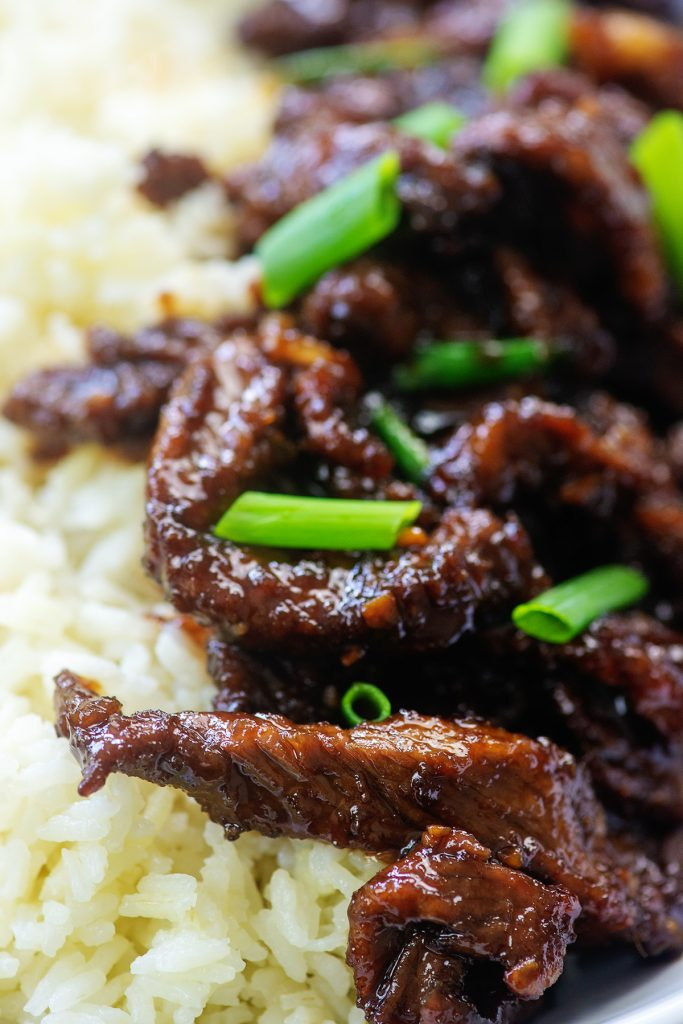 A close up of beef on rice with green onions.