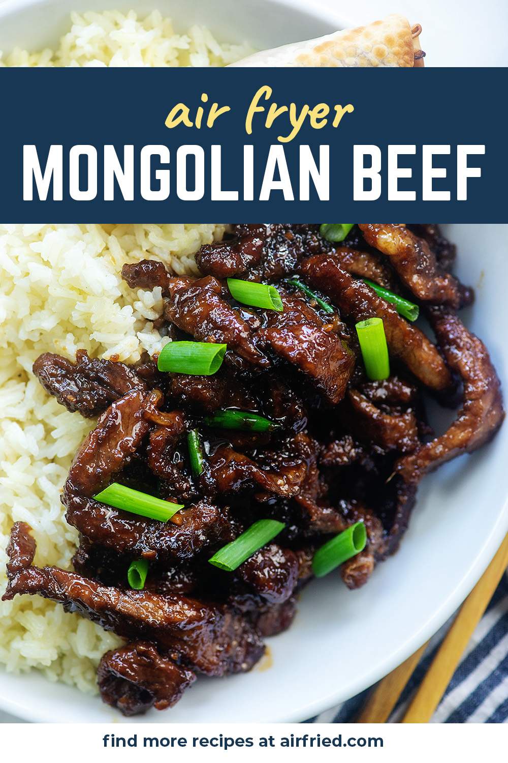 This Mongolian beef recipe is easy and clean to make! #airfryer #asiancuisine #dinnerrecipes