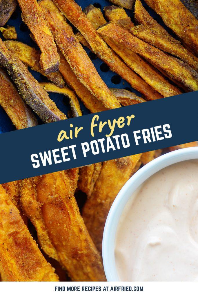 Air fried sweet potato fries in an air fryer basket.