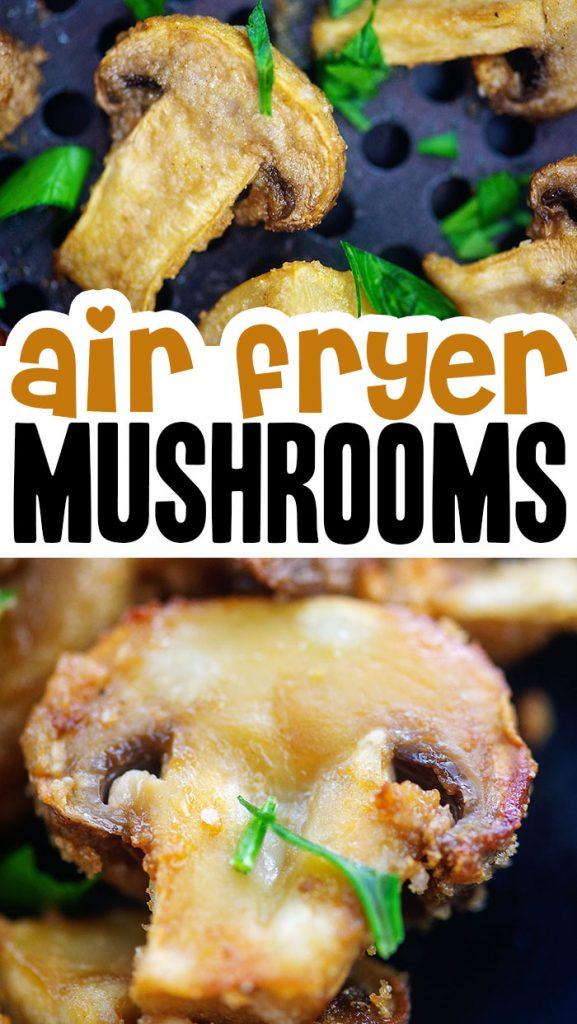 A close up of an air fried mushroom.