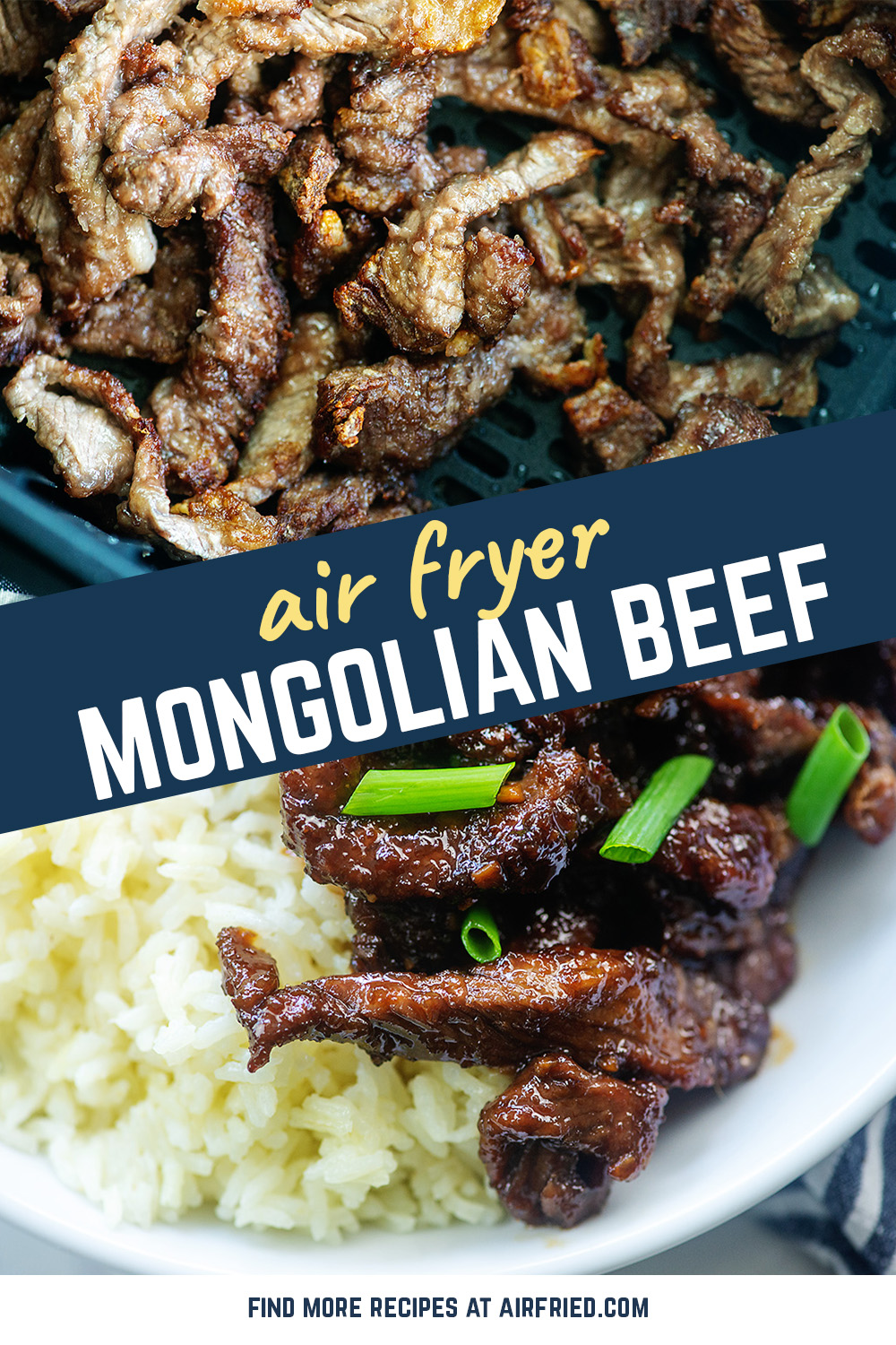 We love this Asian inspired Mongolian beef! It's so easy thanks to the air fryer and the beef gets nice and crispy on the outside! #easy #airfryer #recipe