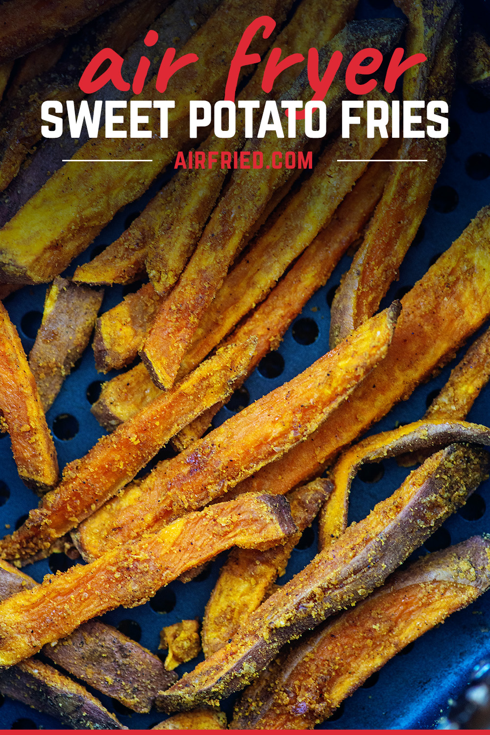 It is easy to make these spicy garlic sweet potato fries in an air fryer. #recipes #airfried #sweetpotatoes