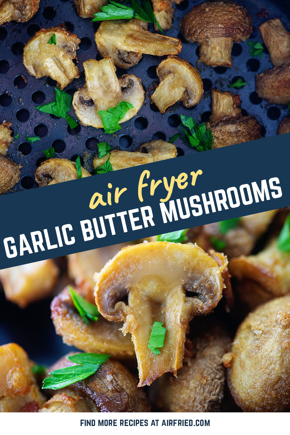 Perfect air fryer mushrooms! It doesn't get much easier than this. #vegetarian #mushrooms
