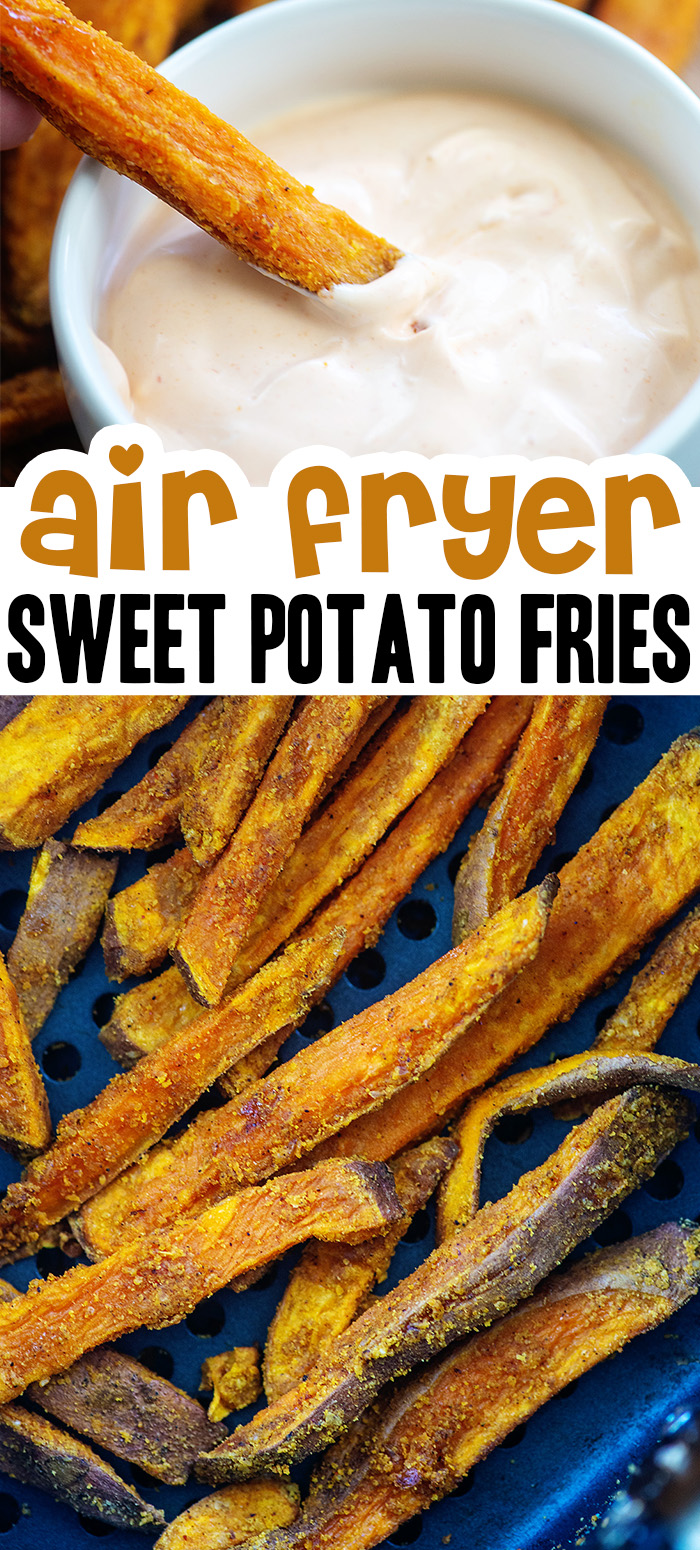 These air fried sweet potato fries match perfectly with our spicy dipping sauce. #airfryer #recipes #frenchfries