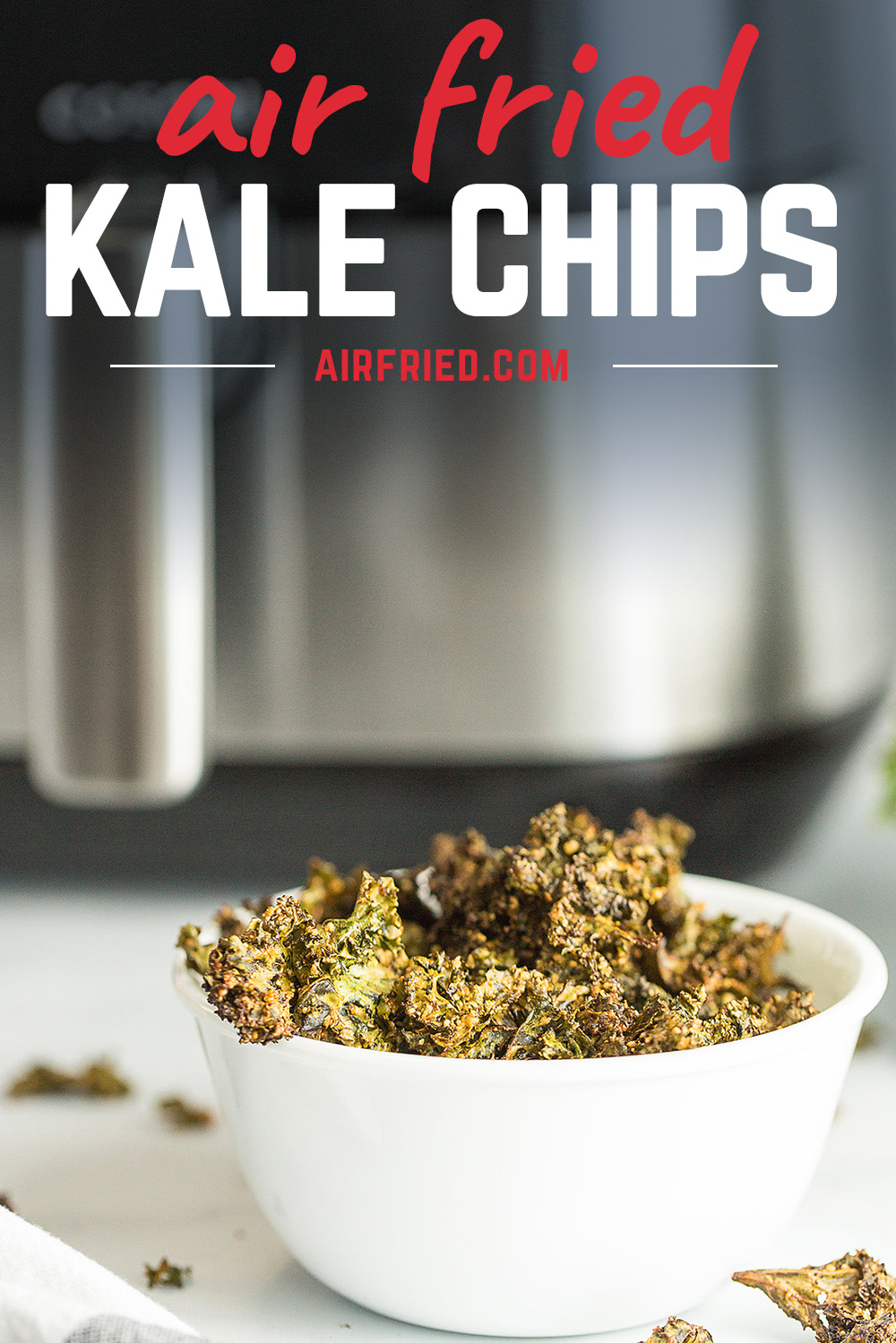 Kale chips are a great healthy snack!  #lowcarb #airfryer #snackrecipes