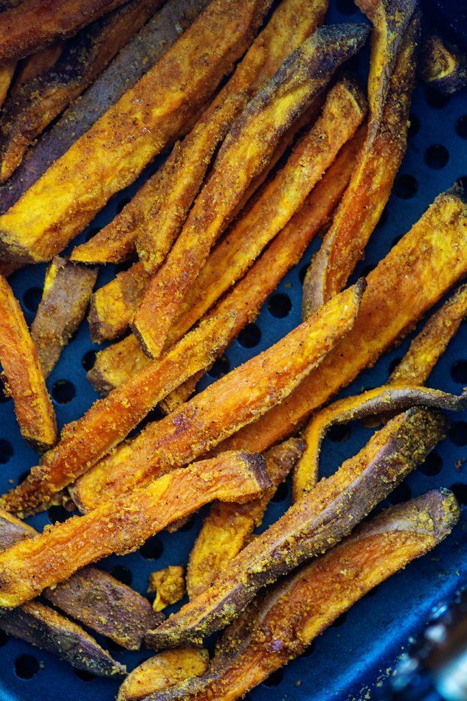 A basket full of sweet potato fries
