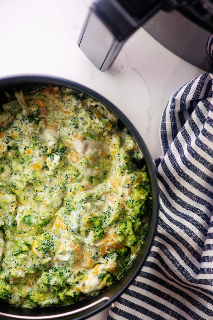 Overhead view of broccoli and cheese casserole