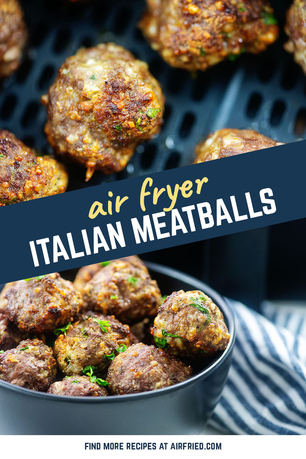 These meatballs take 15 minutes to make and make for an excellent game day appetizer!  #airfryer #italianmeatballs #recipes