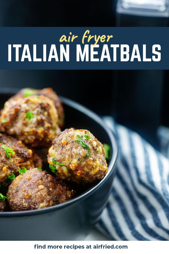 A black bowl full of italian meatballs