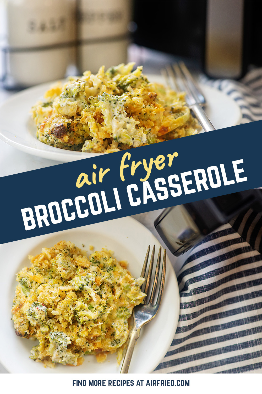 We air fried this broccoli casserole and loaded it with a bunch of cheese! #airfryer #recipes #casseroles