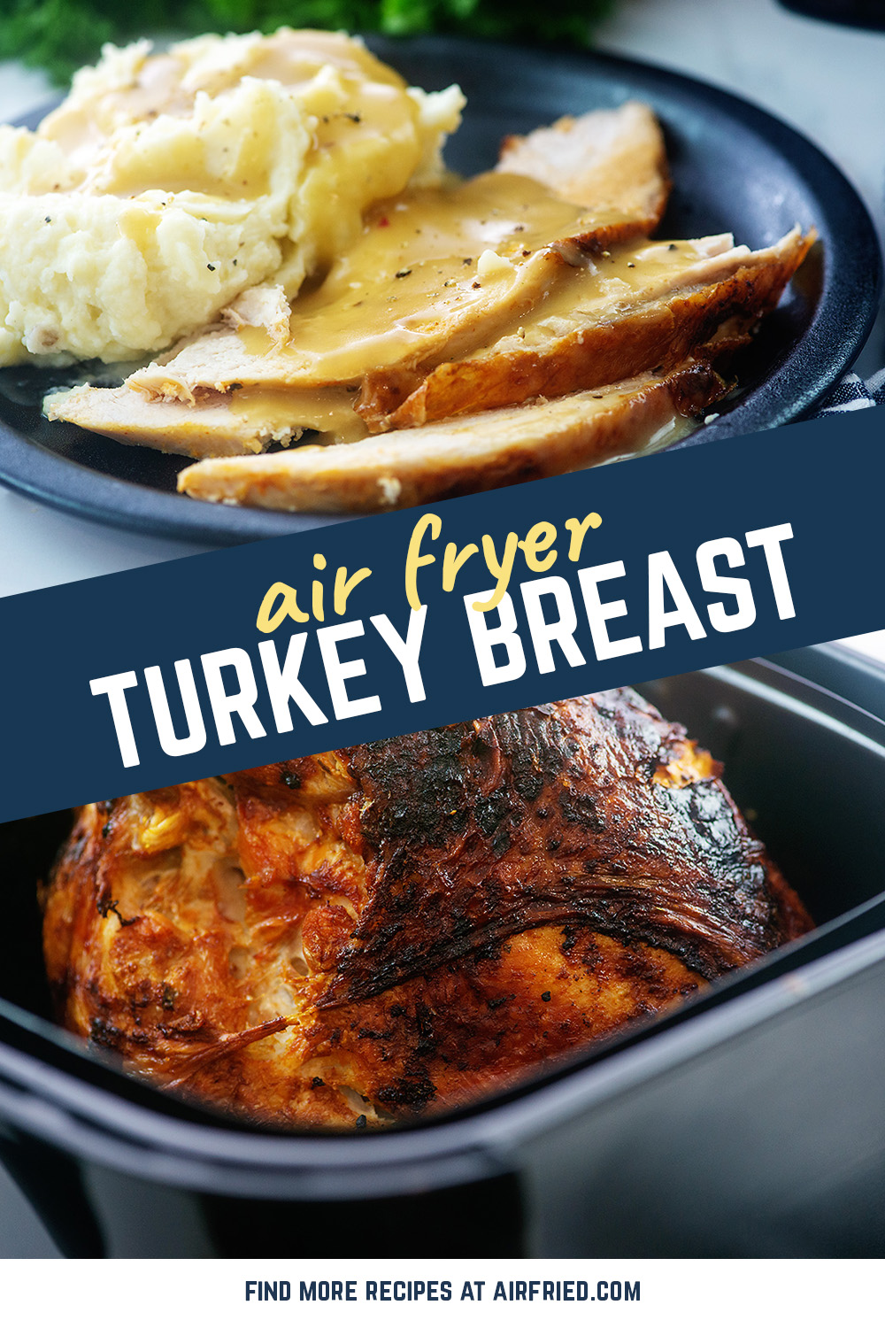 This turkey breast was moist and the skin seasoned wonderfully!  The air fryer is the way to go! #thanksgiving #recipes #airfried