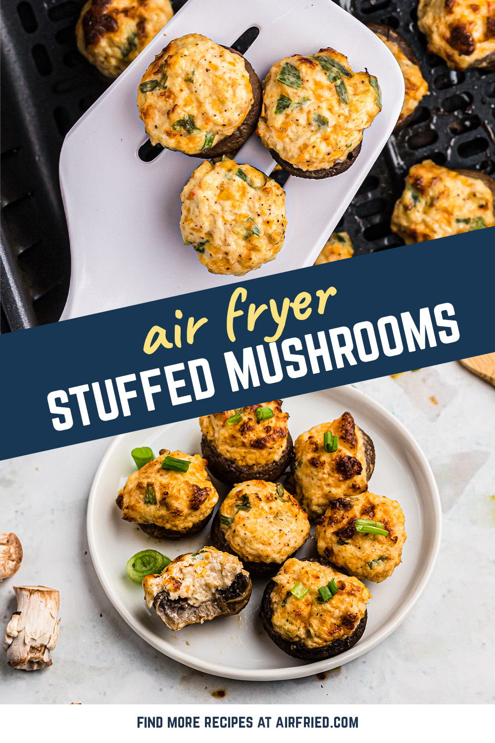 This stuffed mushroom recipe uses crab and shrimp to make a great seafood appetizer!  #airfryer #mushrooms #crab #shrimp