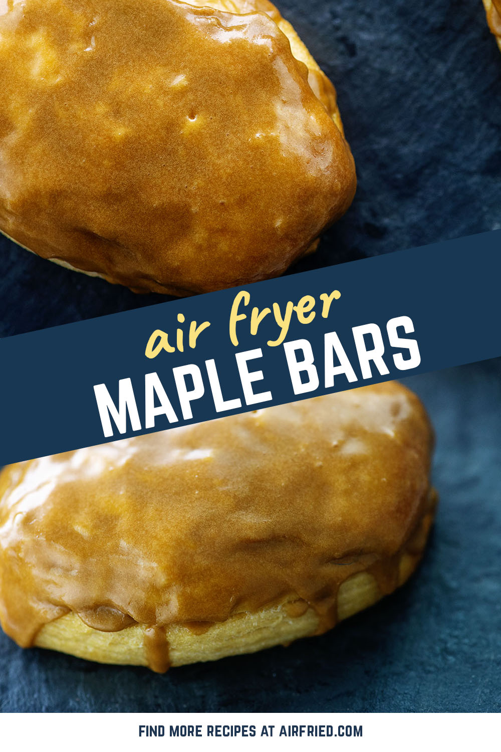 Air fried donuts covered with maple glaze cook in about 5 minutes and turn out with a slight crispiness. #airfyer #breakfast #recipes
