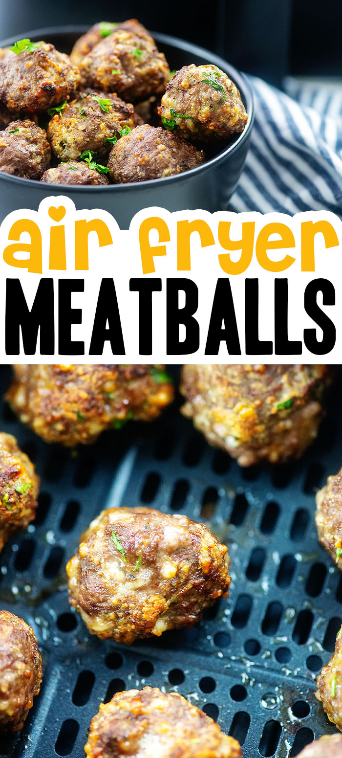 These meatballs are seasoned with Italian seasonings and cook in under 10 minutes! #airfryer #recipes #appetizers