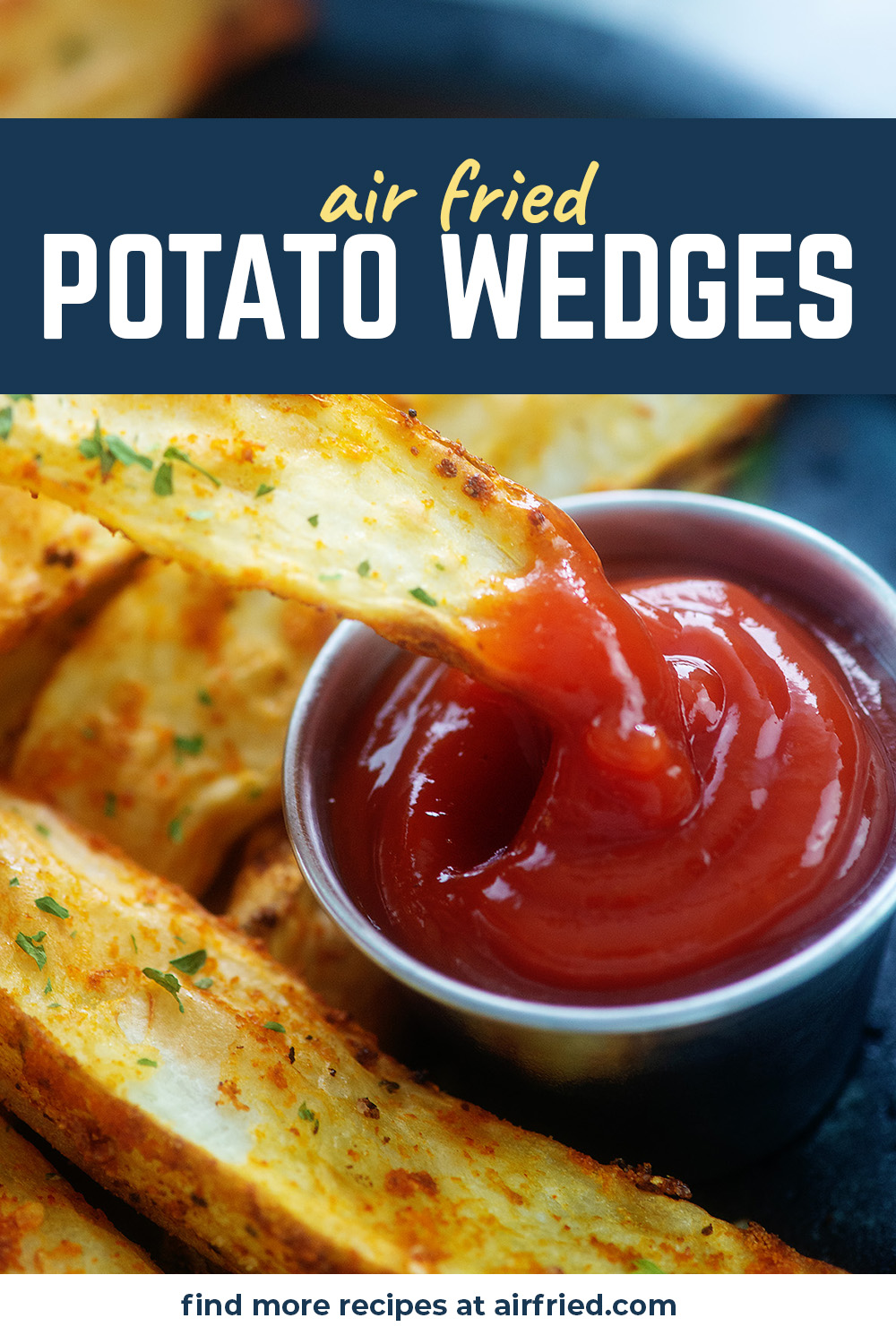 These potato wedges were air fried to give them a crispy outside with a super soft center! #airfryer #recipes #potatoes