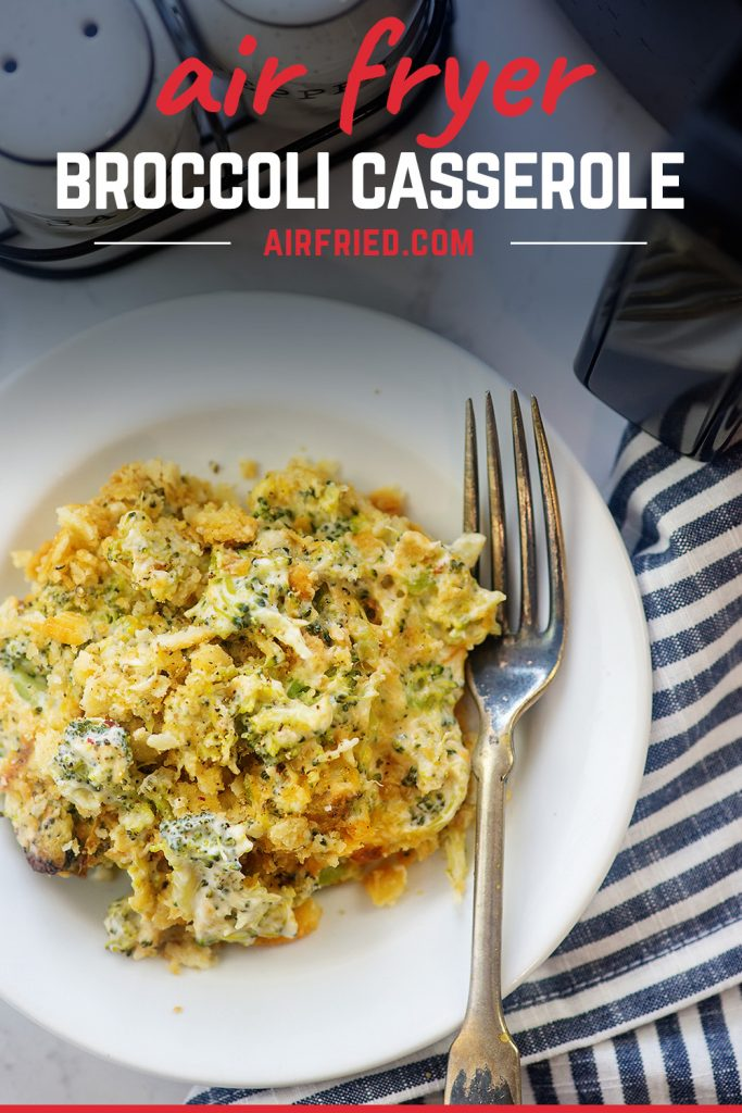 Overhead view of broccoli casserole on a white plate