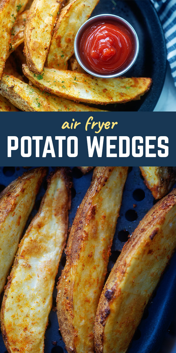 This potato wedge recipe seasons the wedges with garlic and onion powder.  #recipes #potatowedges #airfryer