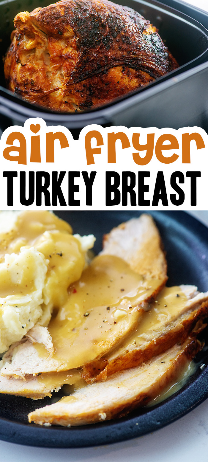 Cooking our turkey in the air fryer turned out great!  The skin was the best part and loaded with flavor! #airfried #recipes #thanksgiving
