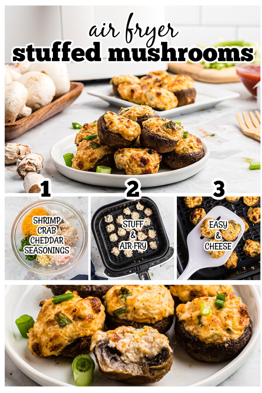 Easy stuffed mushroom recipe using crab and shrimp!  #seafood #mushrooms #recipes