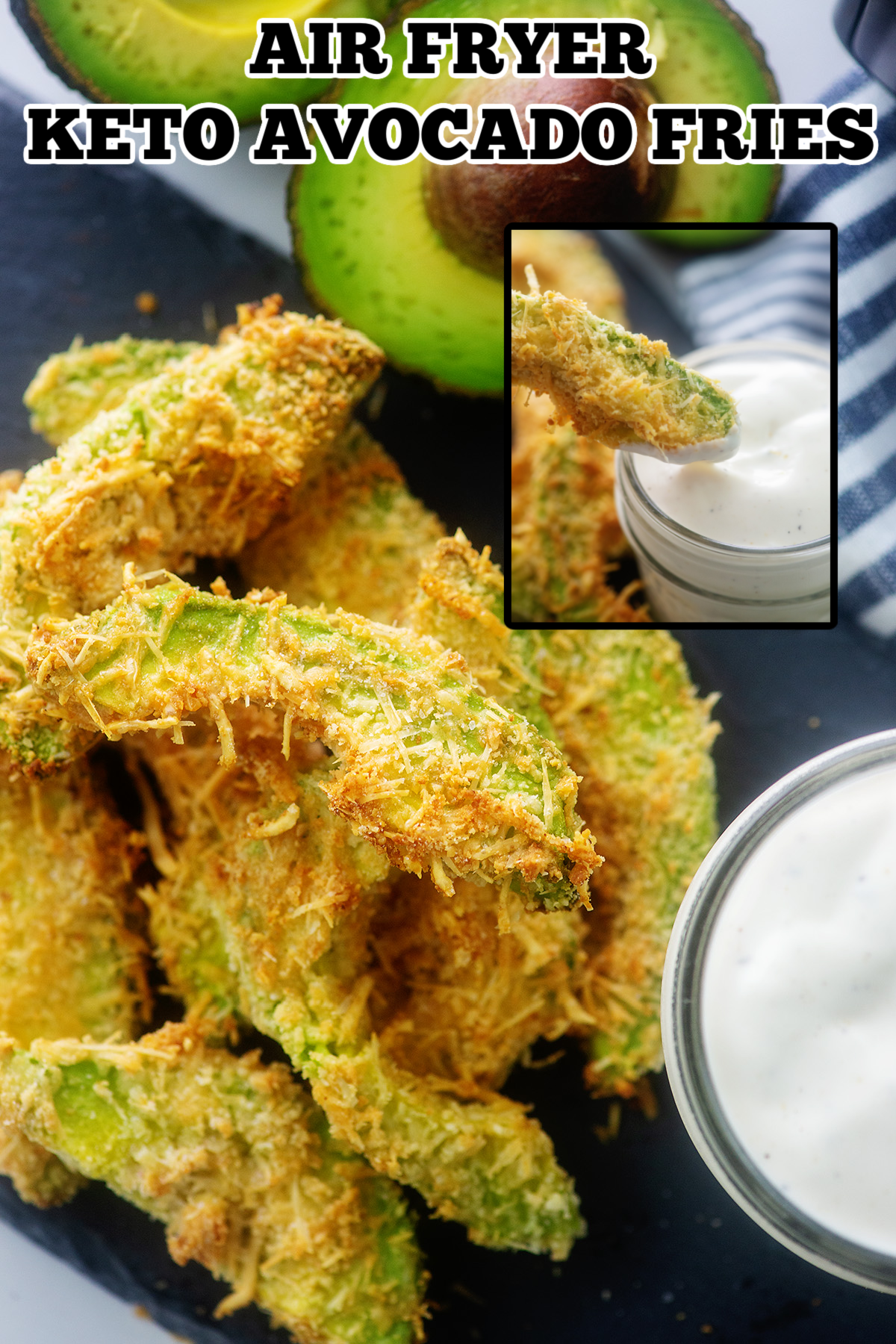 These air fried avocado fries are nice and crispy! #keto #avocado #airfryer