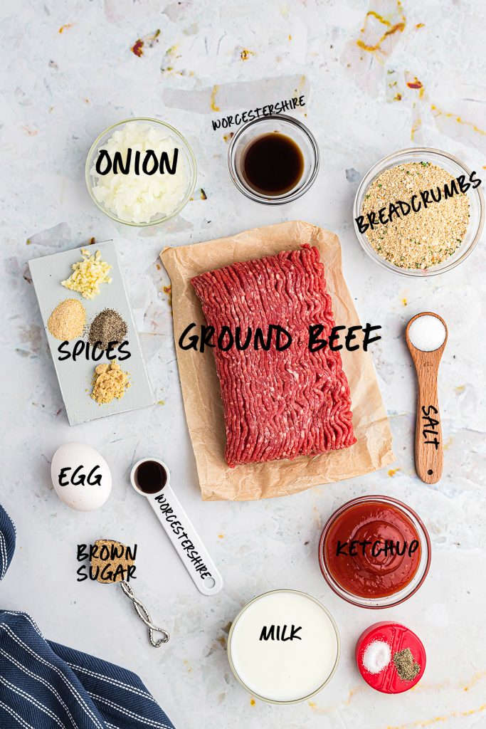 separated ingredients that go into a meatloaf