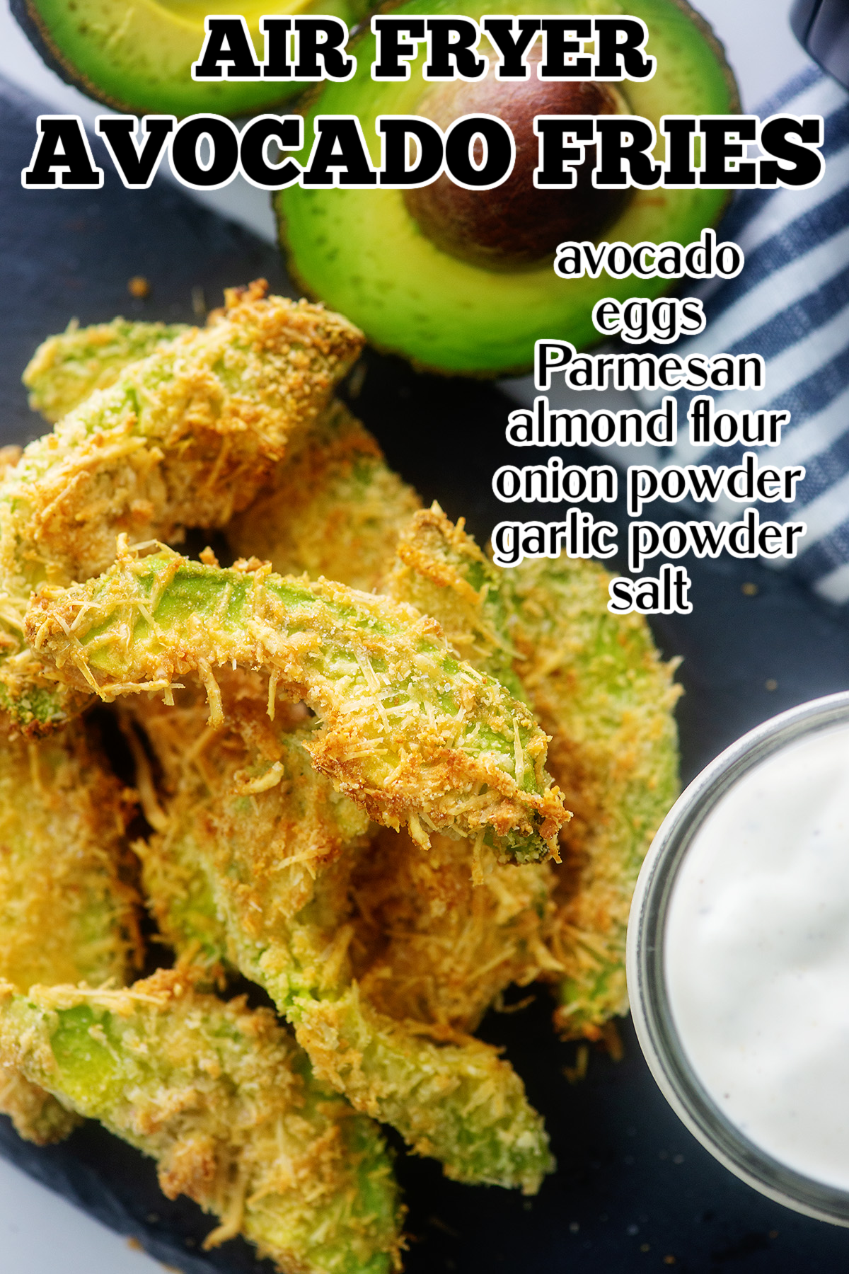 These air fried avocado fries are nice and crispy on the outside with a soft, warm center! #keto #avocado #airfryer