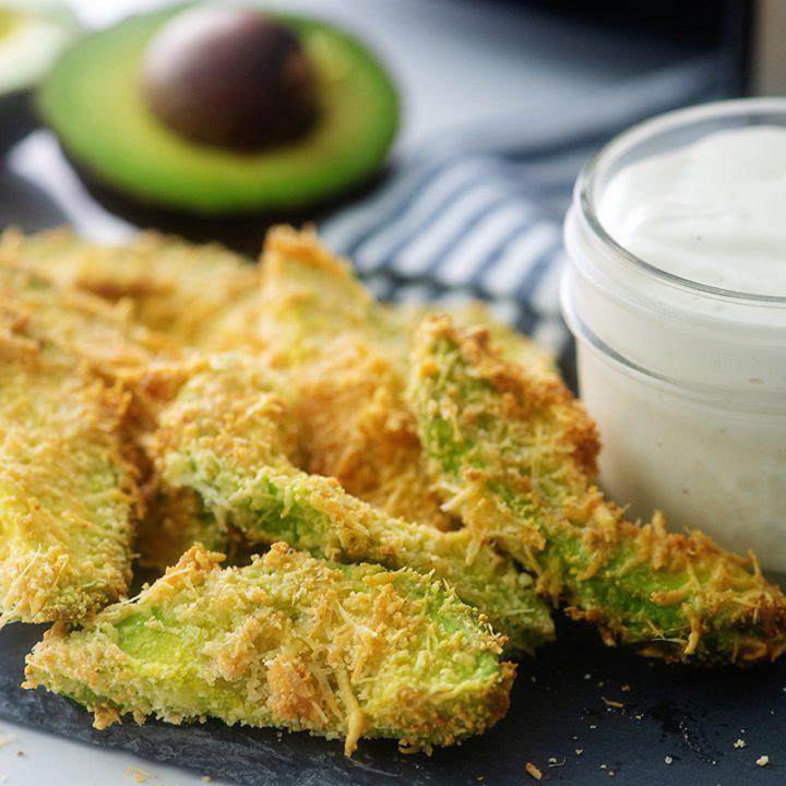 Close up of low carb avocado fries