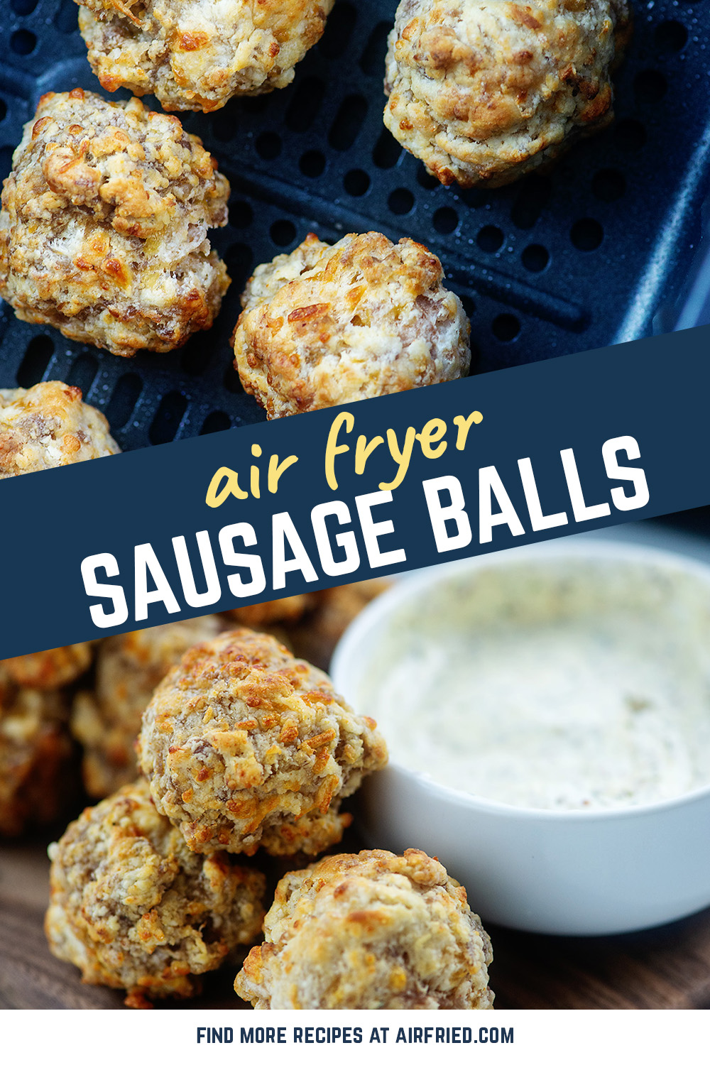This appetizer is perfect for serving my family!  They are cream cheese sausage balls served with a dill mustard dip!  #airfryer #recipes #sausage