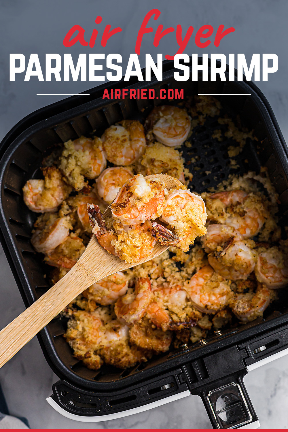 This is an easy shrimp recipe to make in your air fryer!  It is breaded with parmesan cheese and Italian panko! #recipes #seafoodrecipe #airfryer
