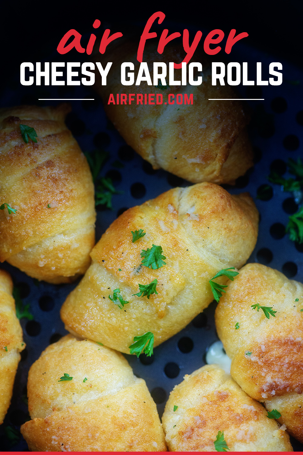 Crescent rolls filled with cheese and topped with garlic butter! These are so easy in the air fryer!