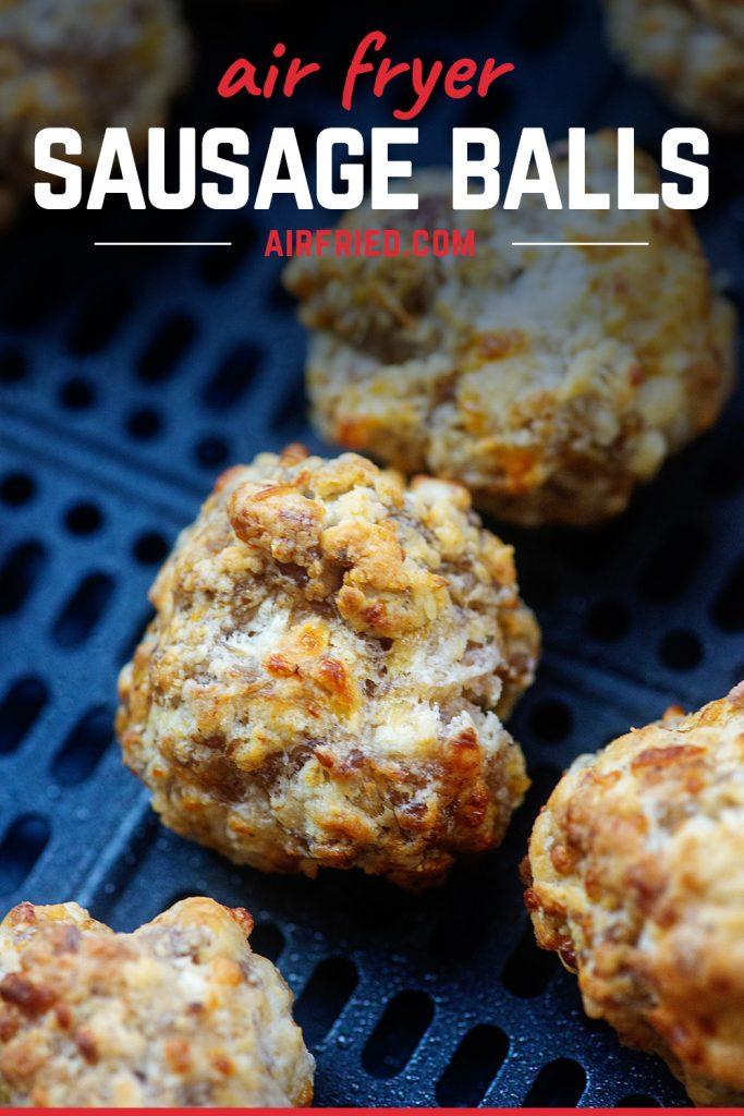 A close up of a couple sausage balls