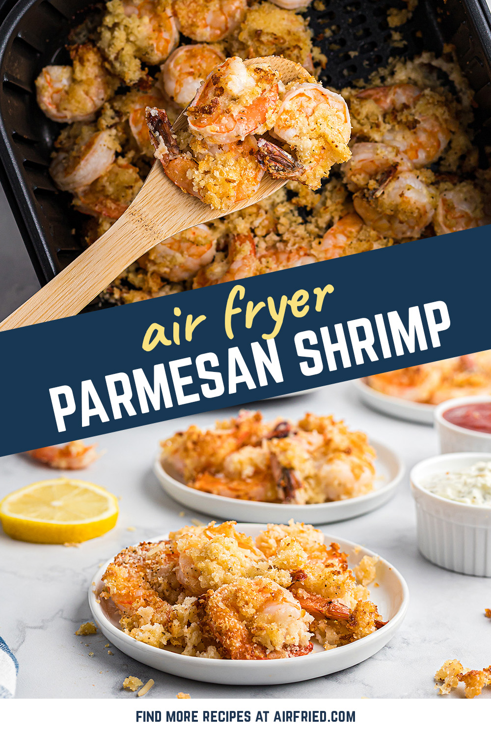 These parmesan shrimp offer a crispy breading with a mellow Italian flavor.  Serve them with cocktail sauce for a great snack or dessert! #airfryer #seafood #shrimprecipes