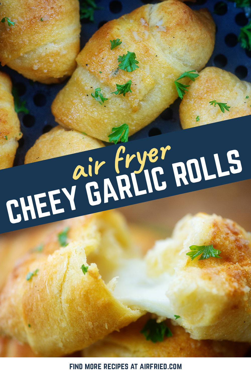 Easy, cheesy, and made in the air fryer! We're obsessed with these cheesy garlic crescent rolls.