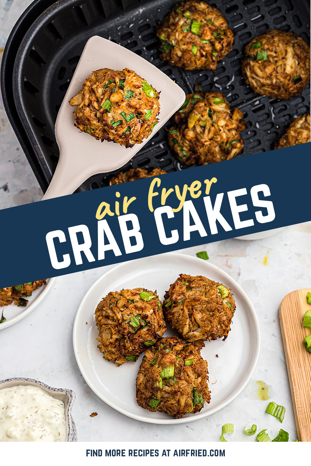 I loved these crab cakes that came out of my air fryer!  They are a little smoky and made with claw meat. #airfried #recipes #seafood