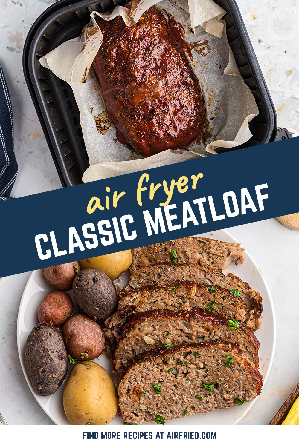 This meatloaf is cooked perfectly and topped with a classic glaze! #recipes #airfryer #comfortfood