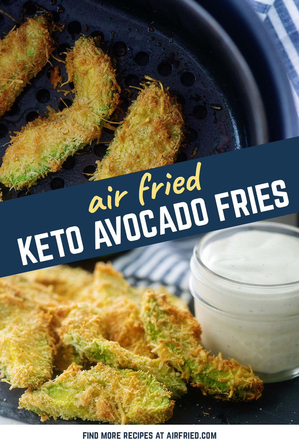 These avocado fries are breaded with a low carb breading and cooked in the air fryer!  #airfried #recipe #Keto