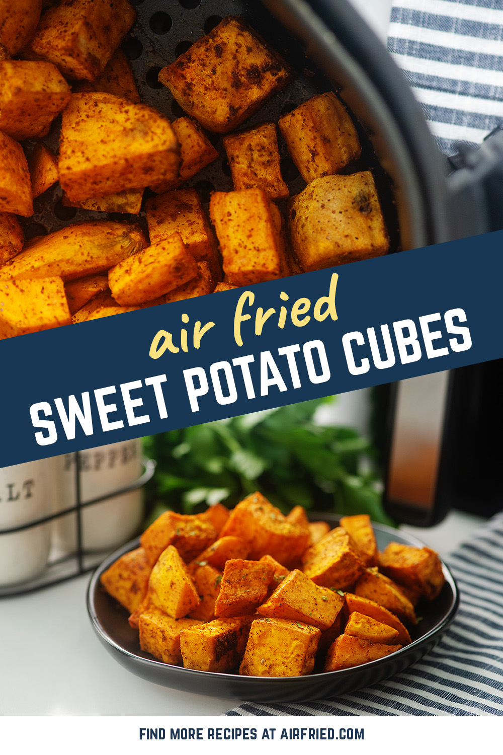 This sweet potato recipe utillizes bite size cubes so that every bite gets a bunch of seasoning!  So good!  #airfryer #recipes #sidedishes