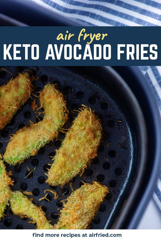 Overhead view of avocado fries in an air fryer basket.